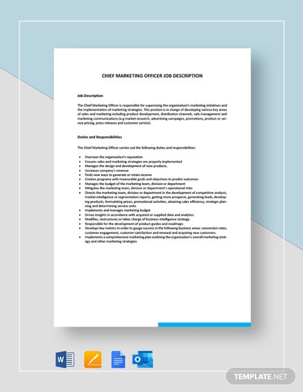 Chief Marketing Officer Job Description Template