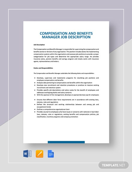Compensation and Benefits Manager Job Description Template