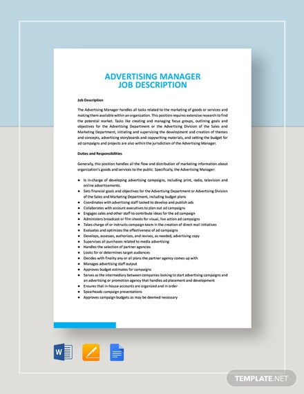 Advertising Manager Job Description Template