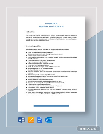Distribution Manager Job Description Template