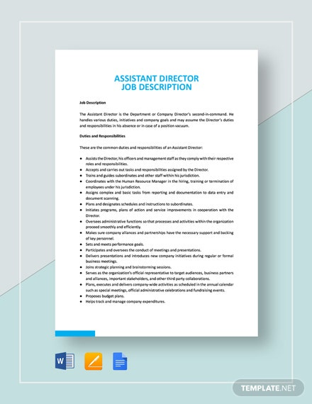 Assistant Director Job Description Template