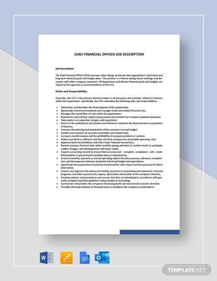 Chief Financial Officer Job Description Template