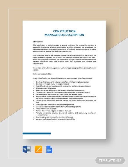 Construction Manager Job Description Template