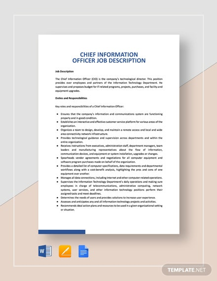 Chief Information Officer Job Description Template