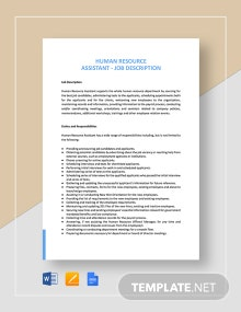 Human Resources Assistant Job Description Template
