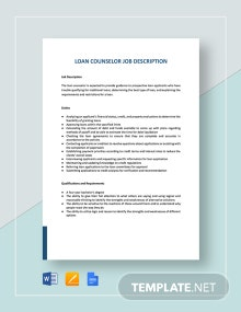 Loan Counselor Job Description Template