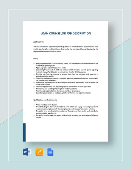Loan Counselor Job Description Template