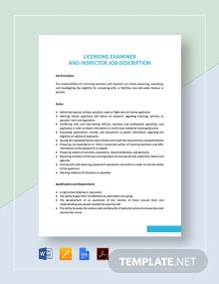 Licensing Examiner and Inspector Job Description Template