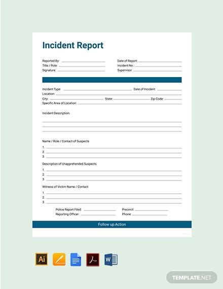 free incident report template 440