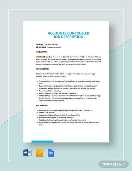 Accounts Controller Job Description Template