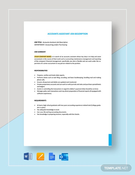 Accounts Assistant Job Description Template