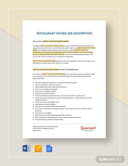 Intern Job Description Template