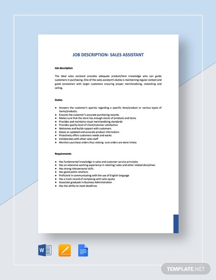 Sales Assistant Job Description Template