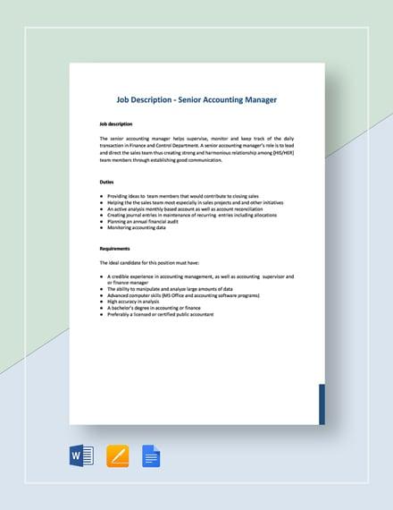 Senior Accounting Manager Job Description