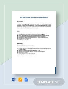 Senior Accounting Manager Job Description Template