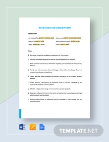 Recruiter Job Description Template