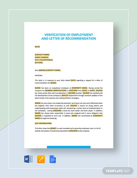 Verification of Employment and Letter of Recommendation Template