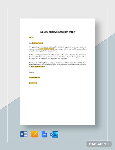 Inquiry on New Customer Credit Template