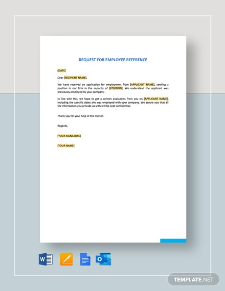 Request for Employment Reference Template
