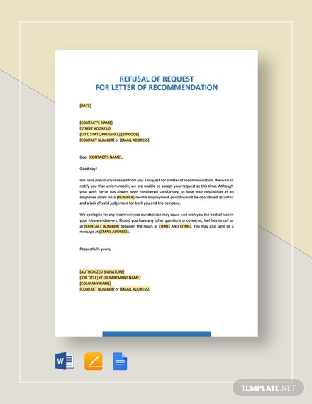 Refusal of Request for Letter of Recommendation Template