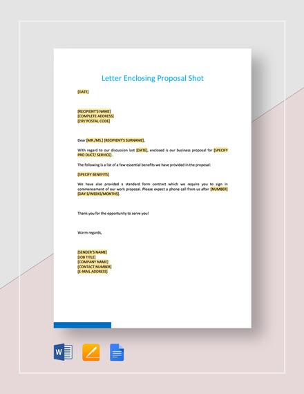 Letter Enclosing Proposal Short