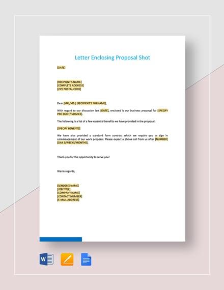 Letter Enclosing Proposal Short Template