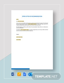 Offer Letter of Recommendation Template