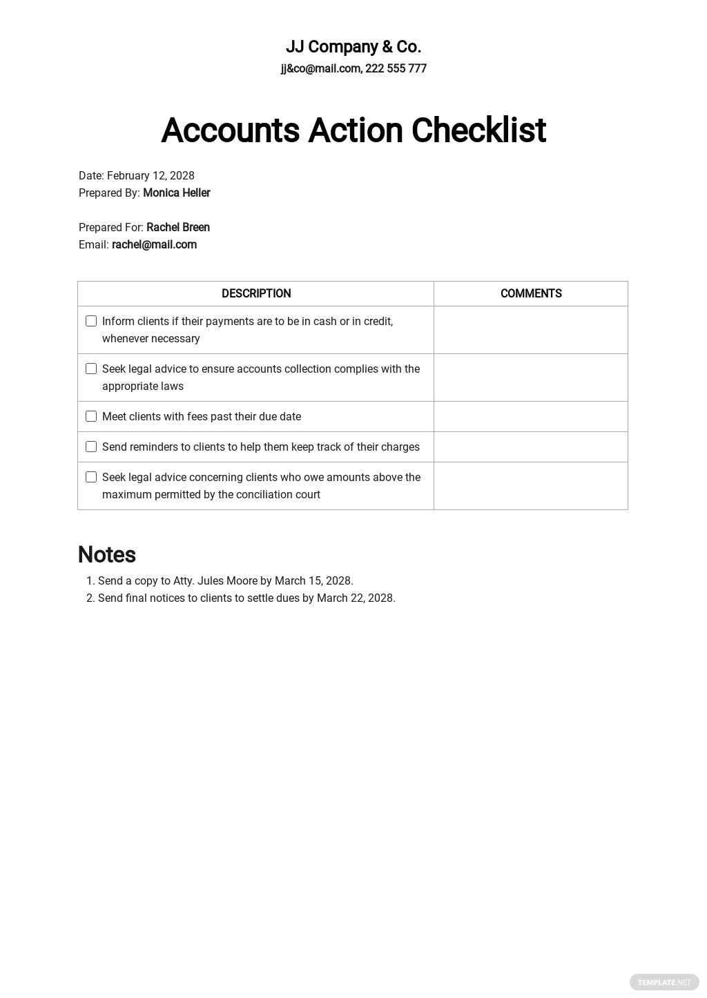 Checklist Action to Improve Collection of Accounts Template