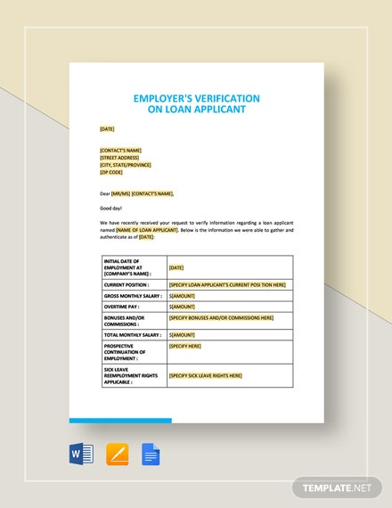 Employer's Verification on Loan Applicant Template
