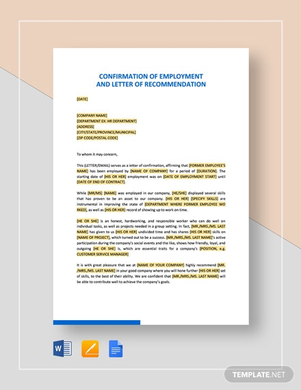 Confirmation of Employment and Letter of Recommendation Template