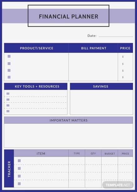 Free Financial Planner Template