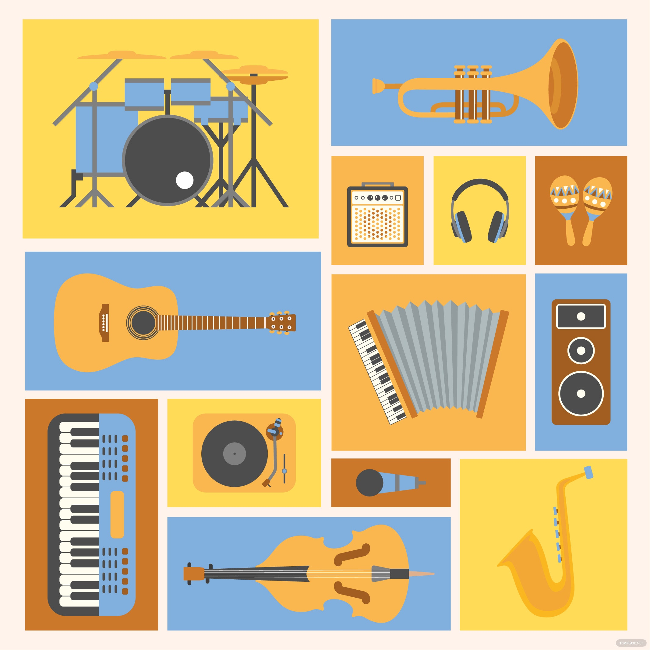 Musical Instruments Collage Vector