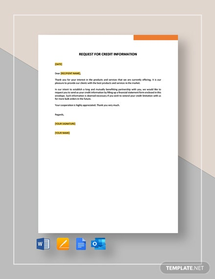 Request for Credit Information Template