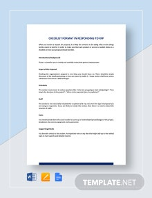 Checklist Sample Format for Responding to RFP Template