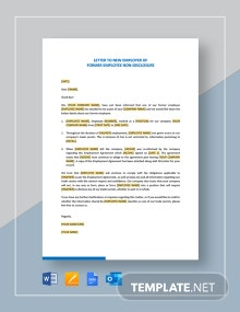 Letter to New Employer of Former Employee Non-Disclosure Template
