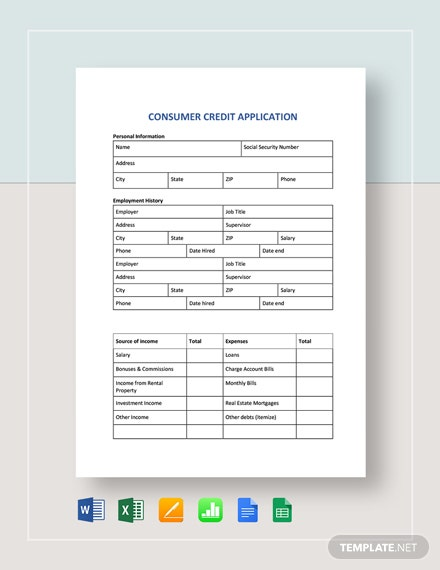 Consumer Credit Application Template