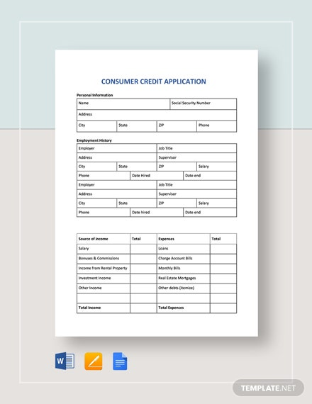 consumer credit application