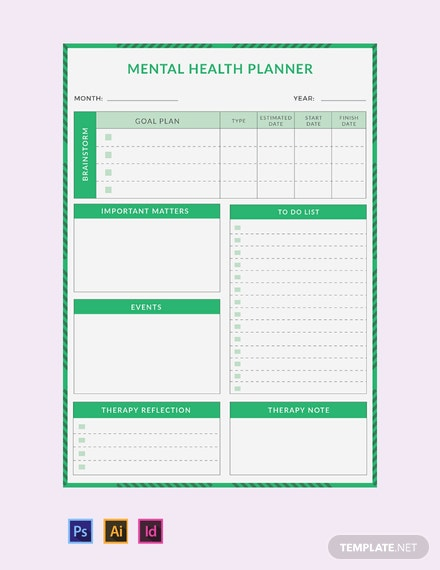 free mental health planner template download 29 planners in psd