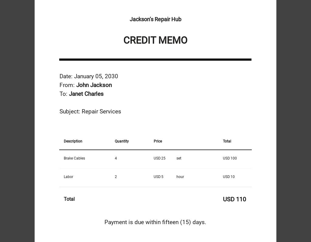 Credit Memo - Excel Template