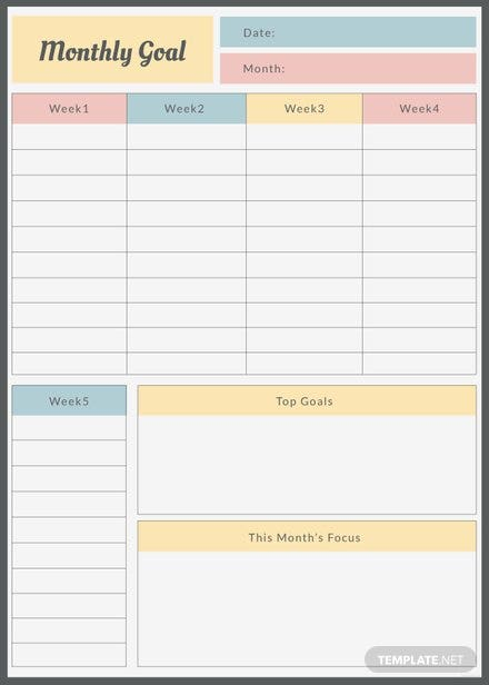 free goal planner template in adobe photoshop  illustrator