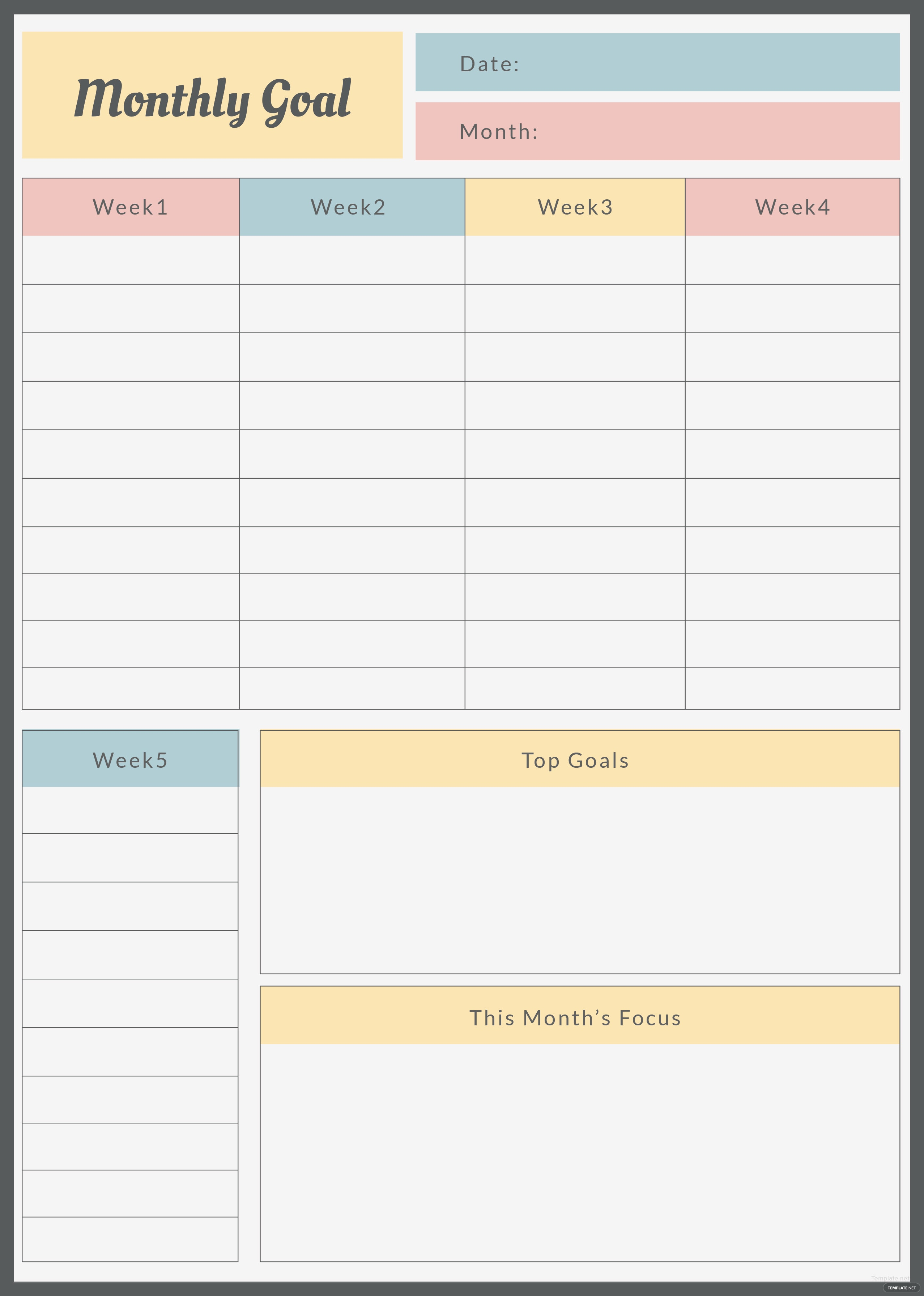 Persnickety image for monthly goals template