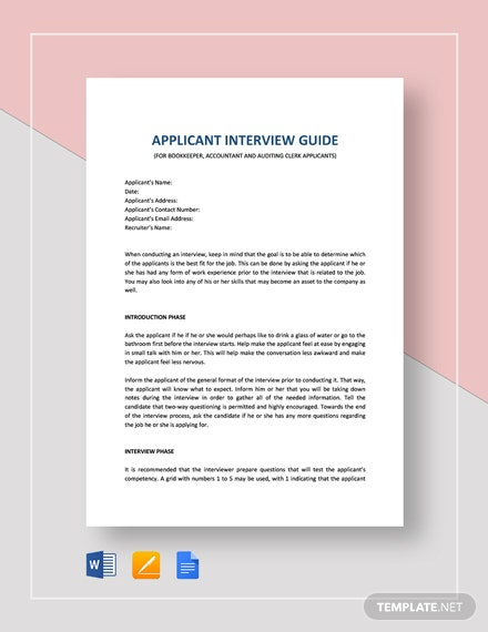 Interview Guide Bookkeeping Accounting and Auditing Clerk