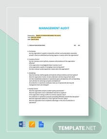 Management Audit Checklist Template