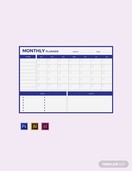 FREE Monthly Planner Template - Word | Excel | PSD