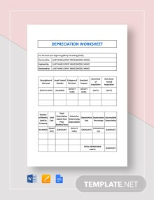 Depreciation Worksheet Template