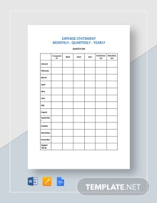 Expense Statement Monthly - Quarterly - Yearly Template
