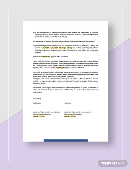Letter of Intent Acquisition of Business Download
