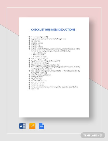 Checklist Business Deductions Template