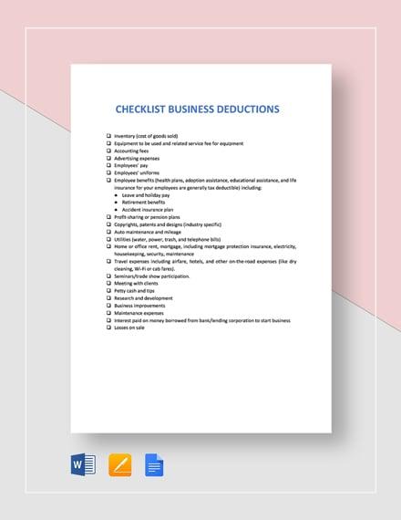 Checklist Business Deductions