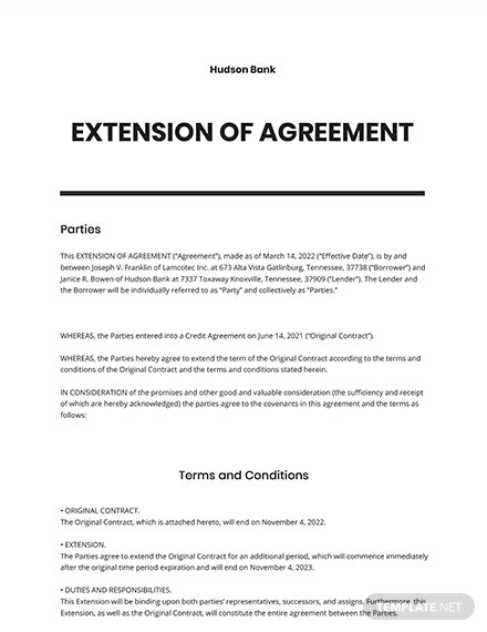 Extension of Agreement